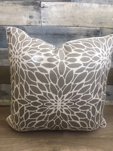 """Sunset West USA Taupe Flower Pattern 20"""" Pillow"""
