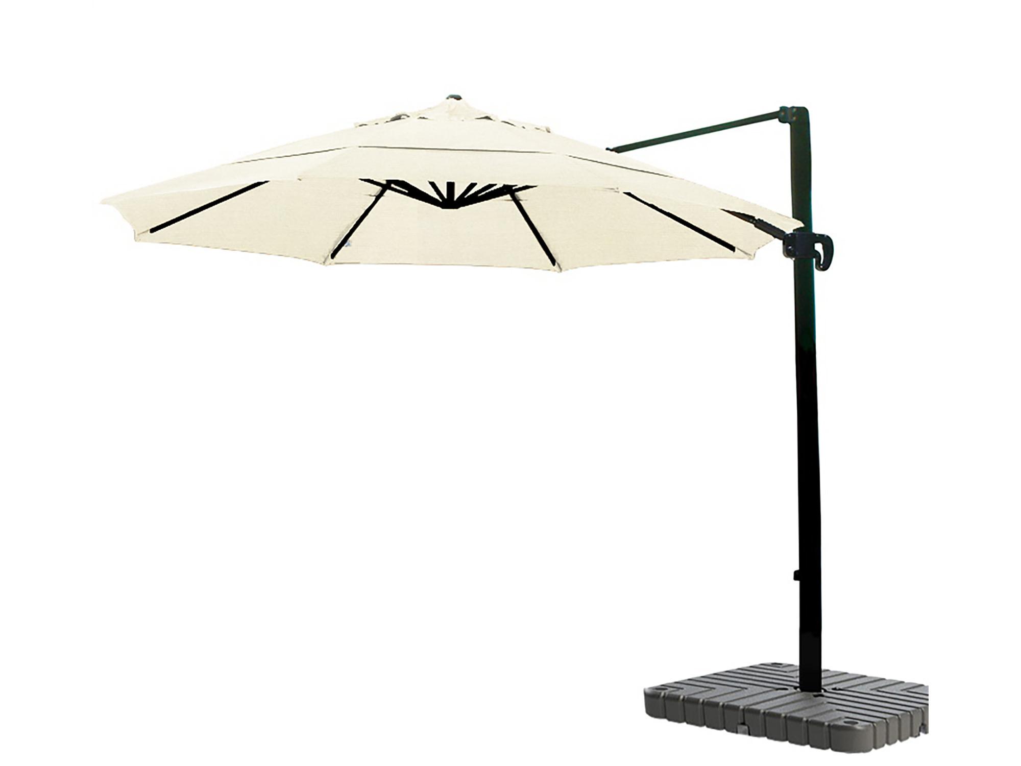 California Umbrella 11' Cantilever Crank Lift Bronze Patio Umbrella Canvas