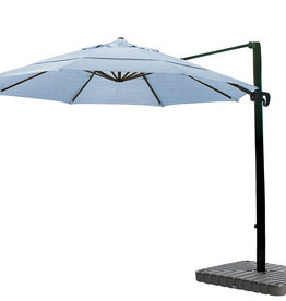 California Umbrella 11' Cantilever Crank Lift Bronze Patio Umbrella Air Blue