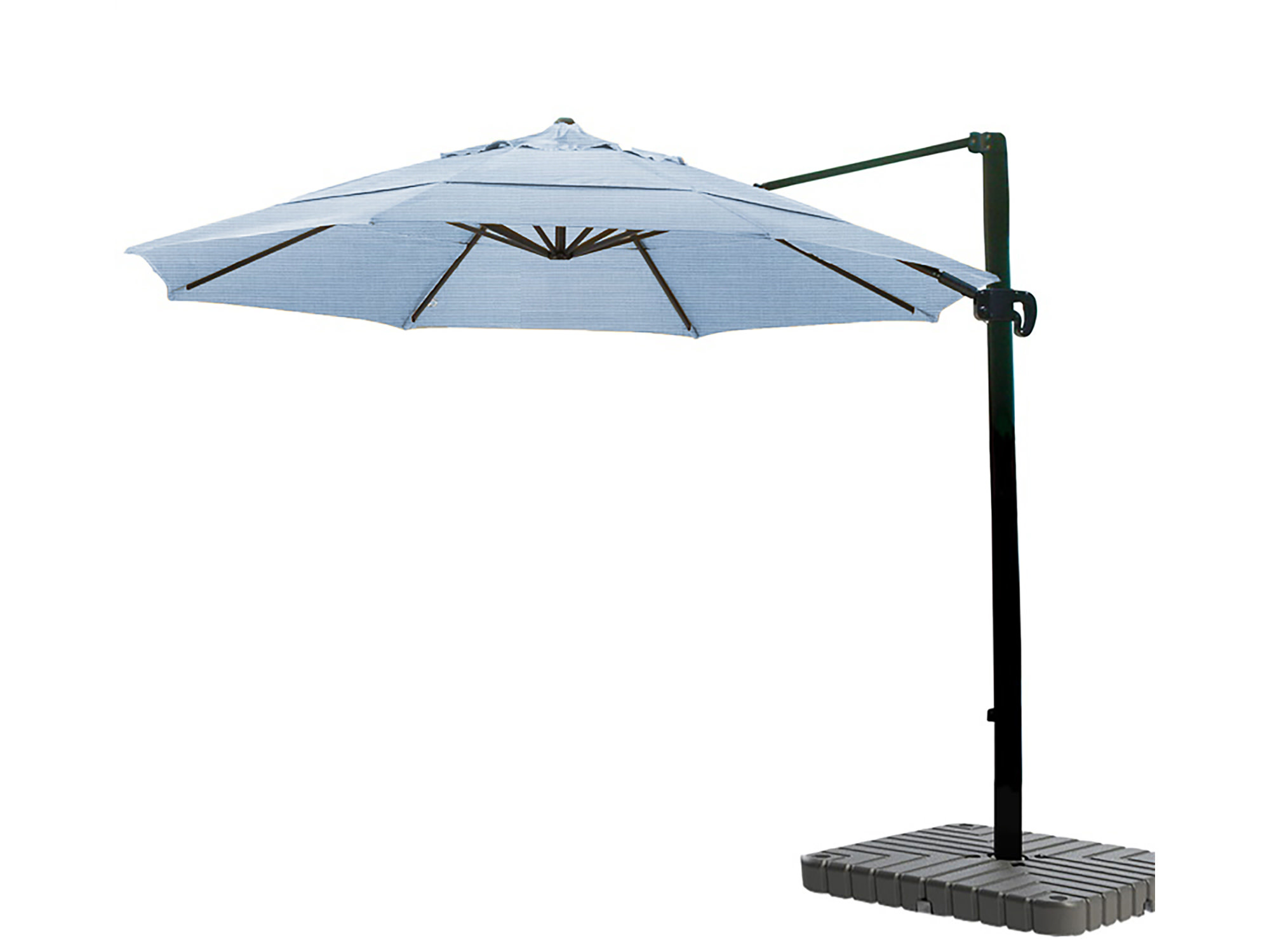 California Umbrella 11' Cantilever Crank Lift Bronze Patio Umbrella Air Blue