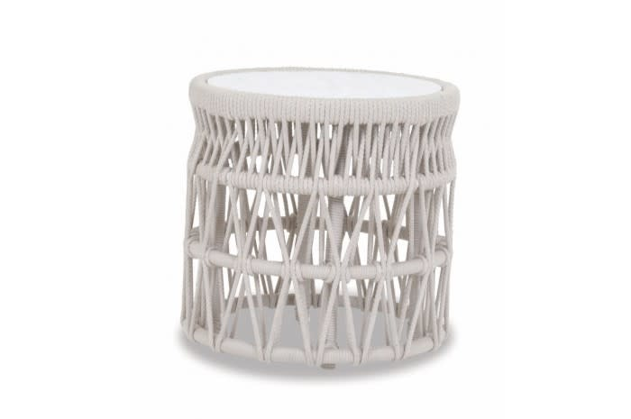 """Sunset West USA DANA ROPE END TABLE W/ HONED CARRERA STONE INSERT 20"""""""