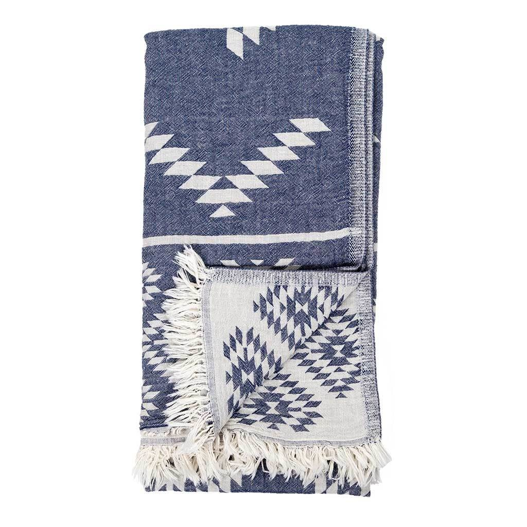 Pokoloko Kreative Ltd. Turkish Towel - Geometric - Cowboy Denim