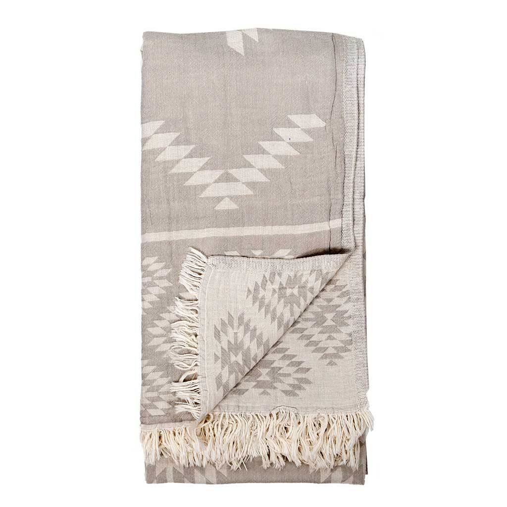 Pokoloko Kreative Ltd. Turkish Towel - Geometric - Pebble Grey