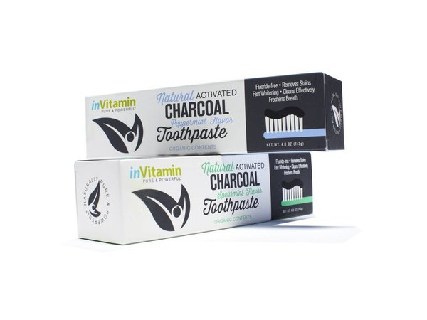 Invitamin Aktieve Charcoal Teeth Whitening Tandpasta Peppermint