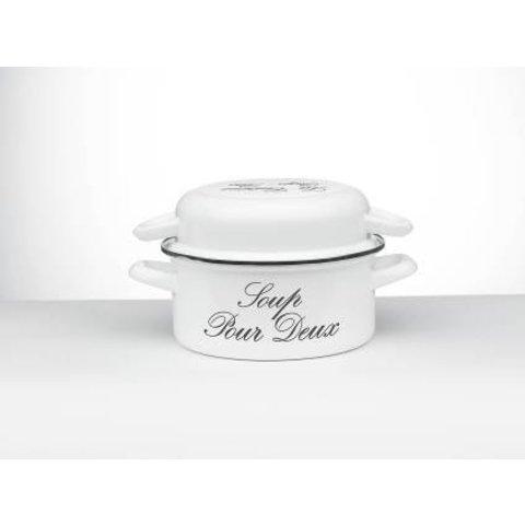 mosselpan - mosselpot - wit met grijze tekst -  voor 1,5kg mosselen - emaille - Ø 24 cm. - wit 'Riviera'