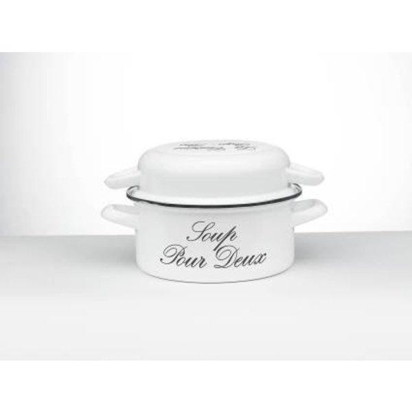 Laviro mosselpan - mosselpot - wit met grijze tekst -  voor 1,5kg mosselen - emaille - Ø 24 cm. - wit 'Riviera'