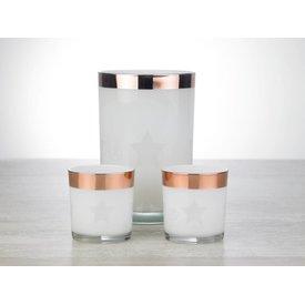 Relance Relance - Windlicht - Sfeerverlichting - Kerstverlichting - Voor waxinelichtjes - Set 3-delig glas met Rosé koperen rand