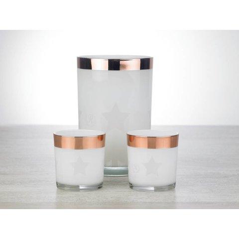 Relance - Windlicht - Sfeerverlichting - Kerstverlichting - Voor waxinelichtjes - Set 3-delig glas met Rosé koperen rand