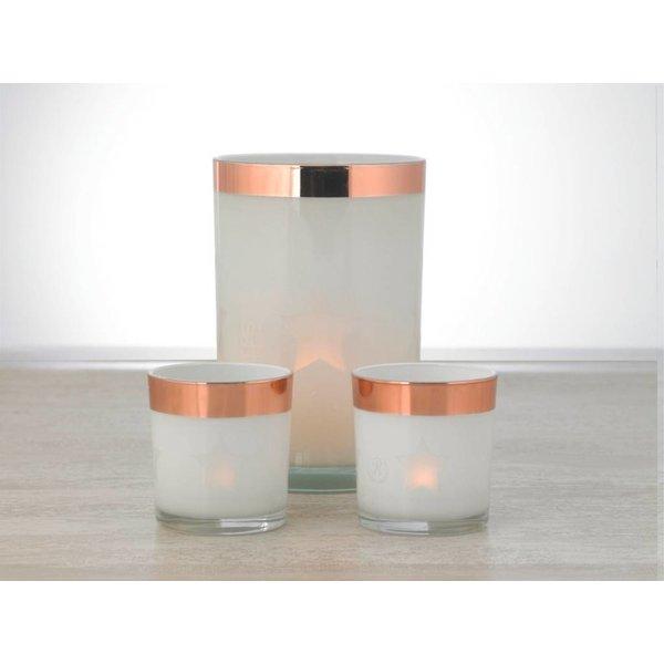 Relance Relance - Windlicht - Sfeerverlichting - Voor waxinelichtjes - Set 3-delig glas met Rosé koperen rand