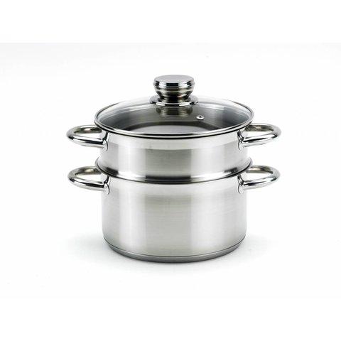 Stoompan - groentestomer - rijststomer - Ø 18 cm. roestvrijstaal met stootvast glasdeksel 3-delig - perfect voor vegan recepten