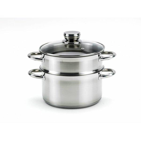 Relance Stoompan - groentestomer - rijststomer - Ø 18 cm. roestvrijstaal met stootvast glasdeksel 3-delig - perfect voor vegan recepten