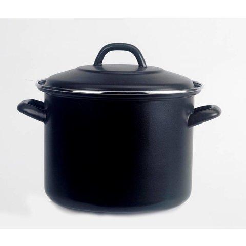 Soeppan  - Ø 22cm.  -  5 liter - mat - zwart - emaille