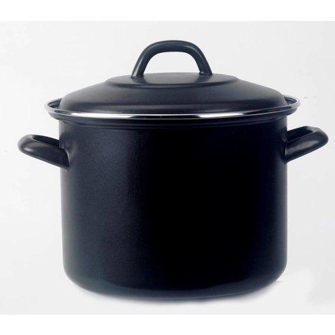 Soeppan - winterkost pan  8 Liter - Ø 26cm - emaille -  mat - zwart