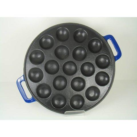 Poffertjesplaat - poffertjespan - 19 pofs - gietijzer - glanzend blauw