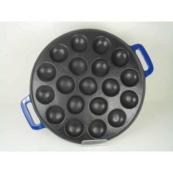 Relance poffertjespan -  inductie - gietijzer - blauw - poffertjesmaker
