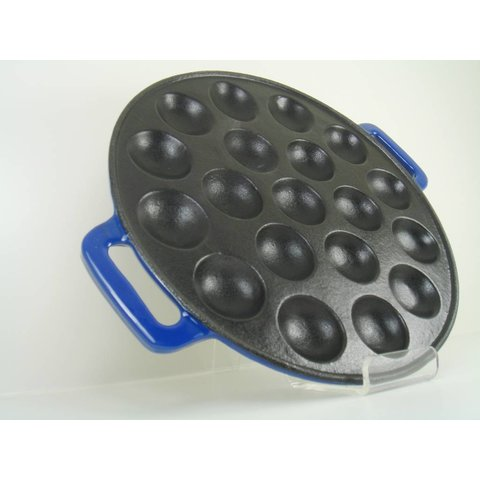 poffertjespan -  inductie - gietijzer - blauw - poffertjesmaker
