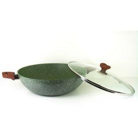 TVS natura Natura 100% Recycled - wok Wadjan Ø 32 cm met glasdeksel - en met groene plantaardige VEGAN anti-kleefcoating ook geschikt voor inductie