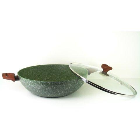 Natura 100% Recycled - wok Wadjan Ø 32 cm met glasdeksel - en met groene plantaardige VEGAN anti-kleefcoating ook geschikt voor inductie