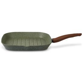 Natura - Vegetek Natura 100% Recycled - Grill pan 28x28cm - en met groene plantaardige VEGAN anti-kleefcoating - PFOS-PFOA vrij - ook geschikt voor inductie