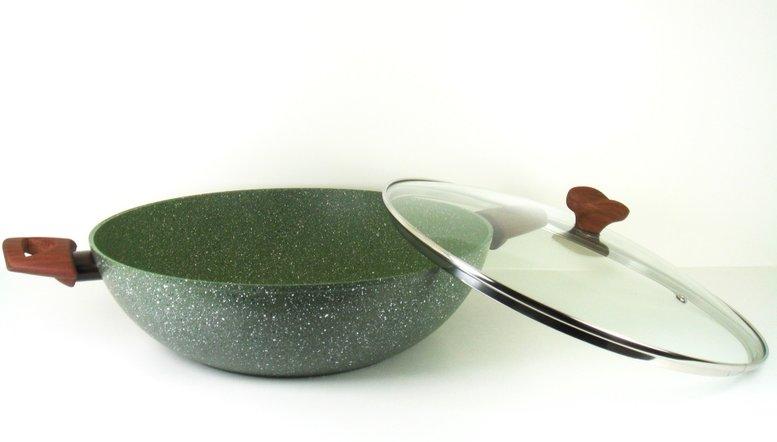 Wok / Wadjan 32cm Natura met glasdeksel