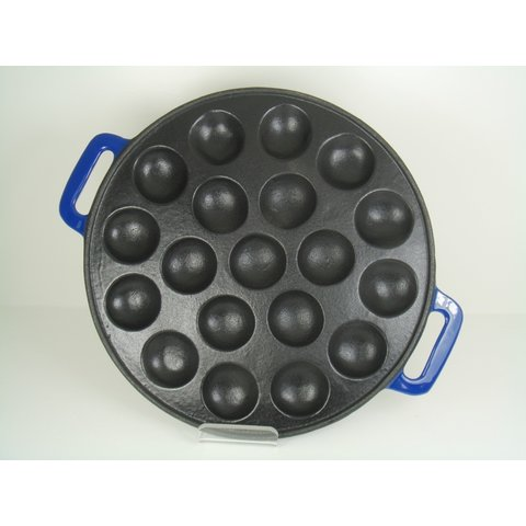 Poffertjespan inductie - gietijzer - blauw - poffertjesmaker