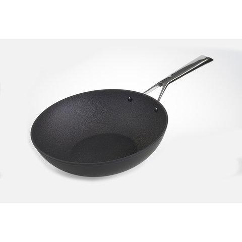 Wok wokpan - inductie - Ø 28 cm  - zwart - met anti-kleeflaag - stay-cool greep