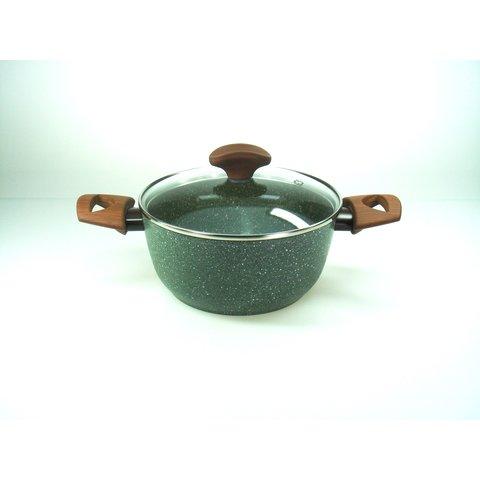 Kookpan met glasdeksel  inductie - Ø 20 cm - TVS Natura met groene VEGAN anti-kleeflaag - 100% Recycled