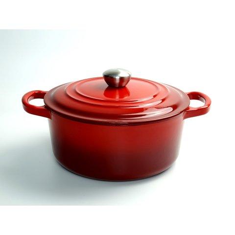 """Relance - gietijzeren braad pan  - Sudder pan - Dutch oven - """"Ma Mère"""" -  Ø 22 cm - schaduw kersen rood -  geschikt voor Gas, keramisch, halogeen en INDUCTIE"""