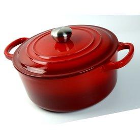 RZ-Kookgerei Braad pan  - gietijzeren - sudder pan - Dutch oven -  Ø 22 cm - schaduw kersen rood -  geschikt voor Gas, keramisch, halogeen en INDUCTIE