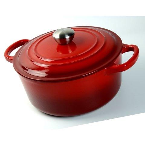 Braad pan  - gietijzeren - sudder pan - Dutch oven -  Ø 28 cm - schaduw kersen rood -  geschikt voor Gas, keramisch, halogeen en INDUCTIE