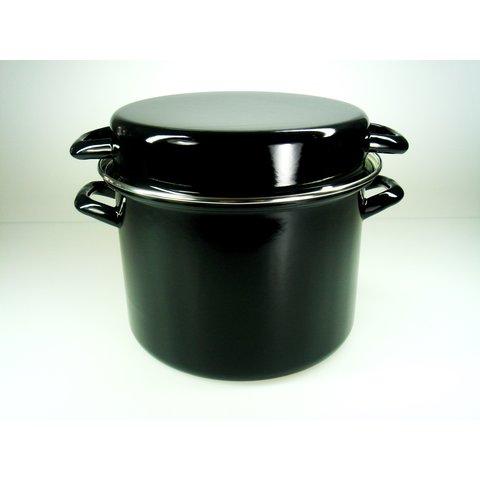 Soep pan - Stamppot Pan met handig omkeer deksel - soeppan 6 Liter  Ø 24cm - emaille - zwart - soepmaker ook geschikt voor inductie