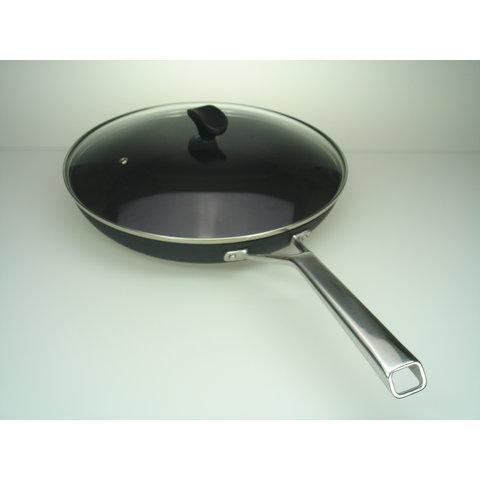 Koekenpan 28cm – Bakpan – Koekenpan inductie – Keramische pan – Zwart  - nu tijdelijk met GRATIS glasdeksel !