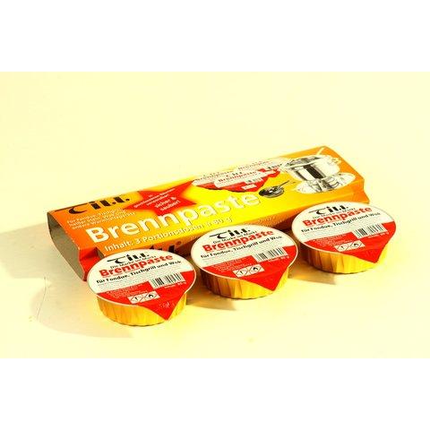 3 x TILL - Brandpasta - pure reukloze kwaliteit - 3 x Set van 3 kuipjes a 80 gram  -  voor elke Fondue-brander - schone en veilige Duitse kwaliteit