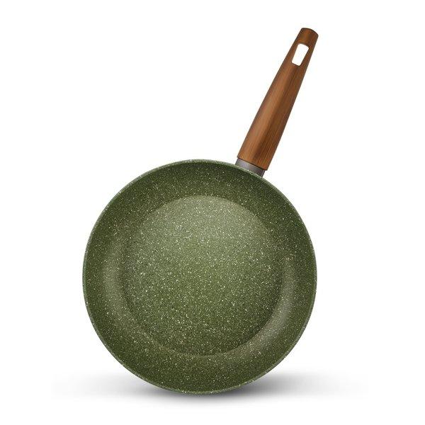 RZ-Kookgerei Natura 100% Recycled - Koekenpan Ø 24 cm - met groene plantaardige VEGAN anti-kleefcoating - PFOS-PFOA vrij -  ook geschikt voor inductie