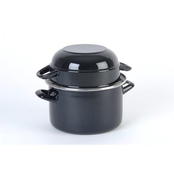 RZ-Kookgerei Mosselpan - Ø 18 cm - 2,5 Liter - mosselpot Zwart - emaille ook geschikt voor inductie