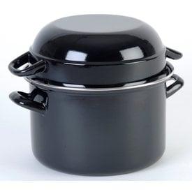 RZ-Kookgerei Mosselpan - Ø 24 cm - 4,5 Liter - mosselpot Zwart - emaille ook geschikt voor inductie