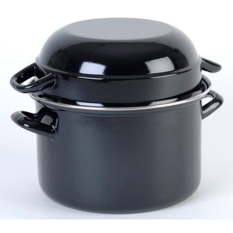 Mosselpan - Ø 24 cm - 4,5 Liter - mosselpot Zwart - emaille ook geschikt voor inductie