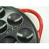 Poffertjesplaat - poffertjespan - 16 poffertjes - gietijzer - glanzend - schaduw-rood