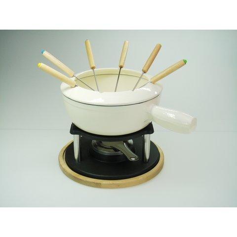 Fondue set - gietijzer - Ø 22 cm. - Kaasfondue, vleesfondue, bouillon-fondue, Chocolade fondue
