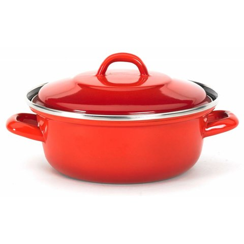 "Braadpan ""Grand-Mere"" - Ø 22 cm. staal - emaille - rood"