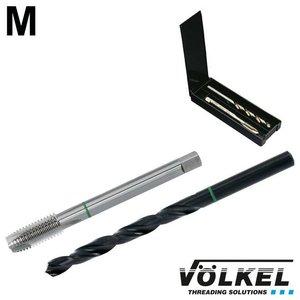 Völkel TwinBox GROENRING machinetap + spiraalboor, DIN 376, HSS-E, vorm B met schilaansnijding, M14 x 2.0