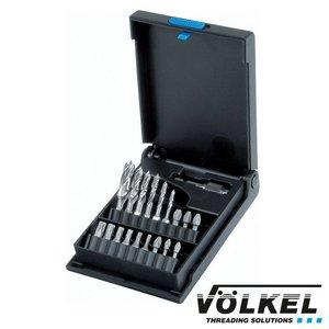 Völkel Spiraalboor-bit-set voor hout 19dlg, HSS-G, Ø 3.0- 10.0mm