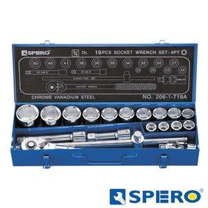 """Spero 3/4"""" doppenset 6-kant in metalen box 19dlg"""