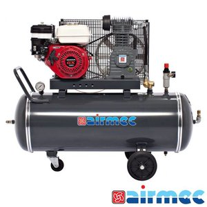 Airmec Zuigercompressor, 350L/min, 100L tank, benzine