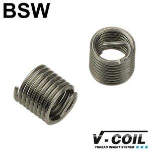 "V-coil Schroefdraadinserts BSW 1"" x 8, RVS, DIN 8140, Lengte: 2.0 D, 5st"