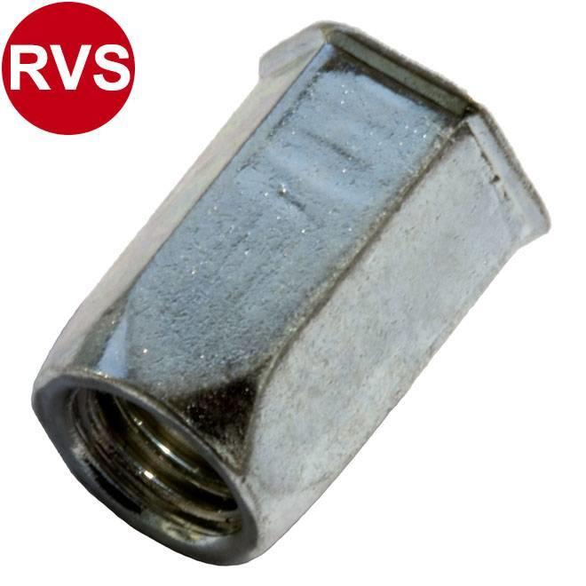 Zeskant - Gereduceerd verzonken - RVS A2