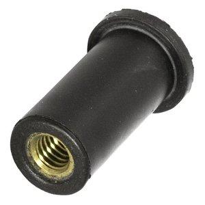 WCT Blindklinkmoer met cilindrische kop - M6 - klembereik: 0.4-2.8mm - rubber/messing - 250 stuks