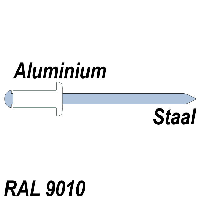 Body aluminium - Trekpen staal - RAL 9010 Wit