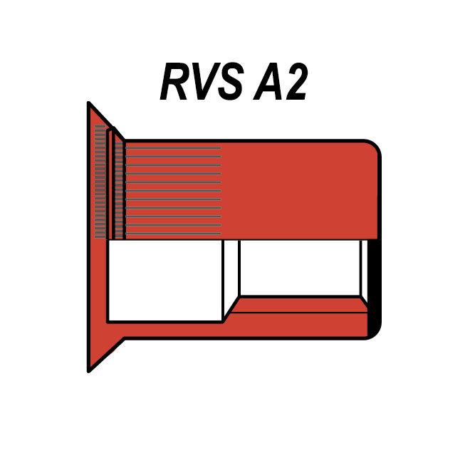 Gesloten - Verzonken - RVS A2