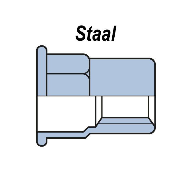Half zeskant - Cilindrisch - Staal